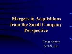 Mergers Acquisitions from the Small Company Perspective Doug