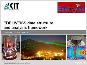 EDELWEISS data structure and analysis framework Benjamin Schmidt