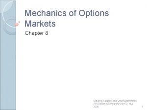 Mechanics of Options Markets Chapter 8 Options Futures