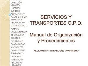 DIRECCIN GENERAL FINANZAS JURIDICO OPERACIONES CONTRALORIA E INSPECCIN