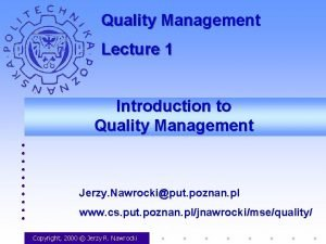 Quality Management Lecture 1 Introduction to Quality Management