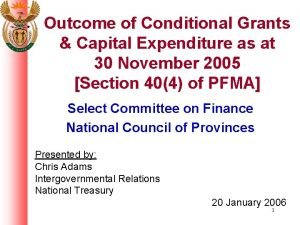Outcome of Conditional Grants Capital Expenditure as at