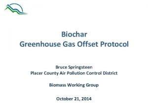 Biochar Greenhouse Gas Offset Protocol Bruce Springsteen Placer