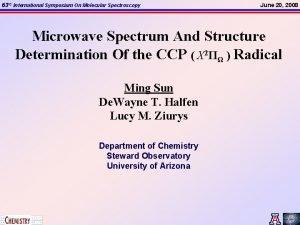 63 rd International Symposium On Molecular Spectroscopy June
