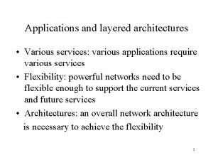 Applications and layered architectures Various services various applications