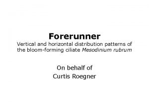 Forerunner Vertical and horizontal distribution patterns of the