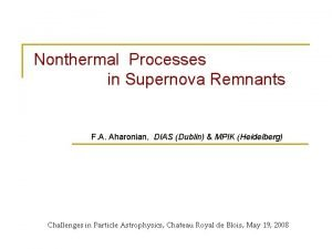 Nonthermal Processes in Supernova Remnants F A Aharonian