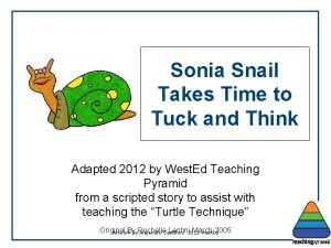 Sonia Snail Takes Time to Tuck and Think