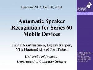 Specom 2004 Sep 20 2004 Automatic Speaker Recognition