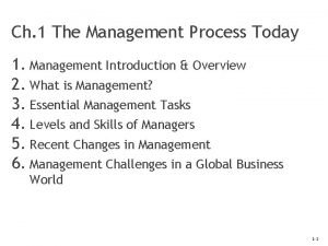 Ch 1 The Management Process Today 1 Management