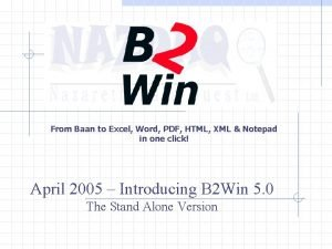 From Baan to Excel Word PDF HTML XML