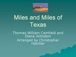 Miles and Miles of Texas Thomas William Camfield