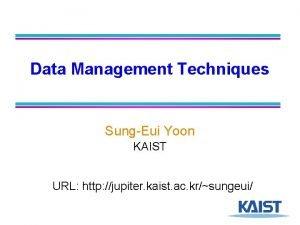 Data Management Techniques SungEui Yoon KAIST URL http