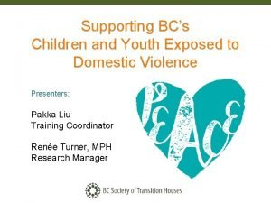 Supporting BCs Children and Youth Exposed to Domestic