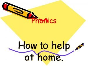 Phonics How to help at home Phonics is