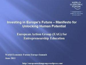 Investing in Europes Future Manifesto for Unlocking Human