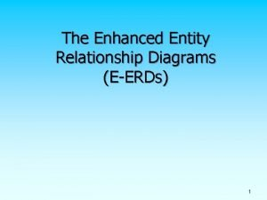 The Enhanced Entity Relationship Diagrams EERDs 1 Supertypes