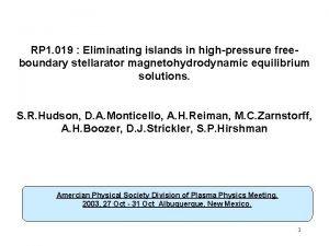 RP 1 019 Eliminating islands in highpressure freeboundary