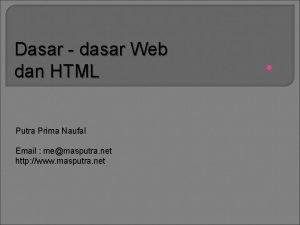 Dasar dasar Web dan HTML Putra Prima Naufal