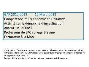 GAF 2012 2013 12 Mars 2013 Comptence 7