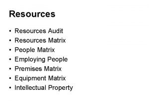 Resources Resources Audit Resources Matrix People Matrix Employing