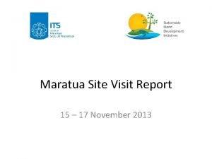 Maratua Site Visit Report 15 17 November 2013