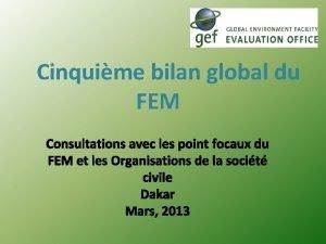 Cinquime bilan global du FEM Consultations avec les