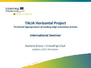TALIA Horizontal Project Territorial Appropriation of Leadingedge Innovation