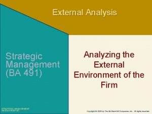 External Analysis Strategic Management BA 491 STRATEGIC MANAGEMENT