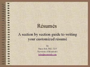 Rsums A section by section guide to writing