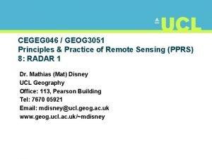 CEGEG 046 GEOG 3051 Principles Practice of Remote