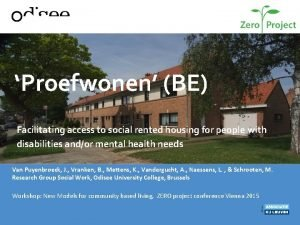 Proefwonen BE Facilitating access to social rented housing