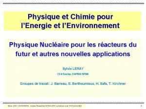 Physique et Chimie pour lEnergie et lEnvironnement Physique