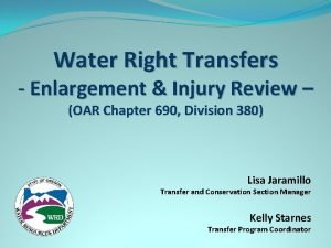 Water Right Transfers Enlargement Injury Review OAR Chapter