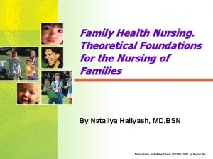 Family Health Nursing Theoretical Foundations for the Nursing