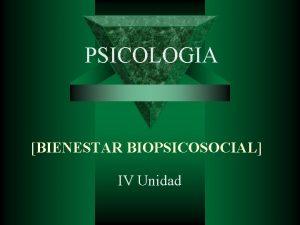PSICOLOGIA BIENESTAR BIOPSICOSOCIAL IV Unidad PSICOLOGIA Situaciones de