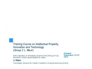 Training Course on Intellectual Property Innovation and Technology