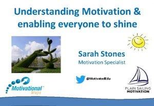 Understanding Motivation enabling everyone to shine Sarah Stones