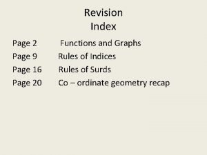 Revision Index Page 2 Page 9 Page 16