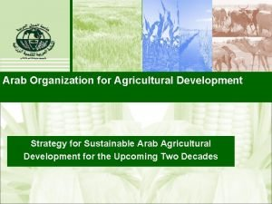 Arab Organization for Agricultural Development Strategy for Sustainable