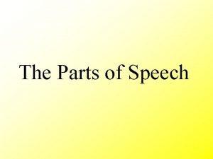 The Parts of Speech Parts of Speech Noun