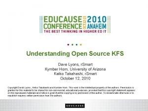 Understanding Open Source KFS Dave Lyons r Smart