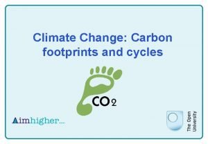 Climate Change Carbon footprints and cycles Climate Change