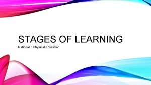 STAGES OF LEARNING National 5 Physical Education STAGES