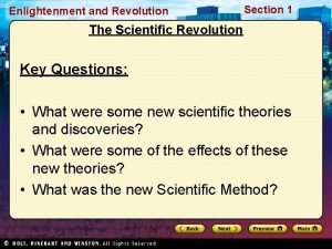 Enlightenment and Revolution Section 1 The Scientific Revolution