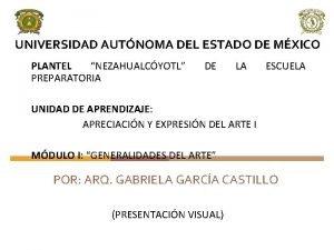 UNIVERSIDAD AUTNOMA DEL ESTADO DE MXICO PLANTEL NEZAHUALCYOTL