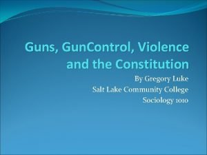 Guns Gun Control Violence and the Constitution By