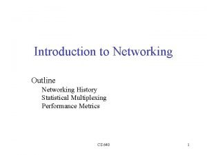 Introduction to Networking Outline Networking History Statistical Multiplexing