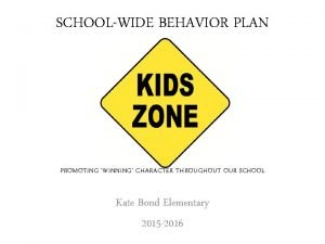 SCHOOLWIDE BEHAVIOR PLAN PROMOTING WINNING CHARACTER THROUGHOUT OUR