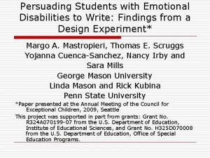 Persuading Students with Emotional Disabilities to Write Findings